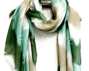 Two Tone Watercolour Green Scarf / Spring Summer Scarf / Autumn Scarf / Women Scarves / Gifts For Her / Accessories / Handmade