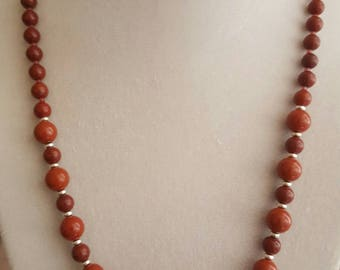 Red Jasper with Glass Accent Bead