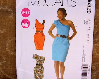 Easy McCalls Summer DRESS Fitted Wiggle One Shoulder or sSleeveless UNCUT Sizes 6, 8,  10, 12 Uncut Factory Folds Casual