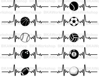 Heart beat sportball svg - Heart beat sportball - Heart beat sportball digital clipart for Design or more, files download svg, png, dxf