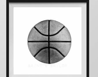 FLASH SALE til MIDNIGHT Basketball Photo Print Black and White, Decorating Ideas, Wall Decor, Wall Art,  Kids Room, Nursery Ideas, Gift Idea