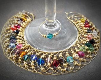 bulk wine charms | Swarovski ® Crystal - 36 colors - gold crystal wine glass charms - wine markers - champagne charms - martini glass marker