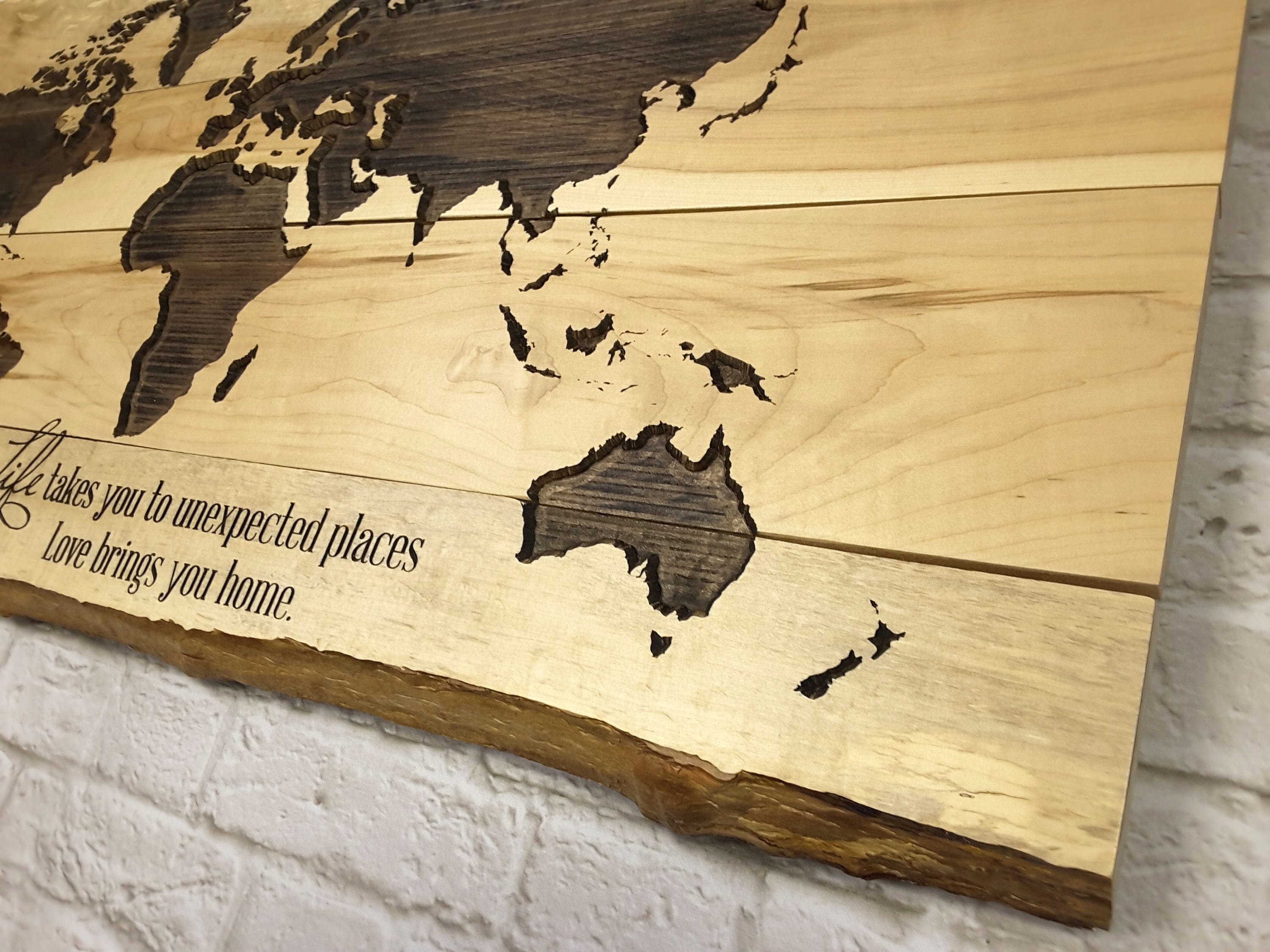 World Map CARVED Wood Sign World Wall Decor Custom Wood Sign