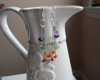 Full Set Chakra Gemstone Earrings / Chakra Jewelry / Yoga Jewelry / Graduated Chakra Gemstone Chip Earrings