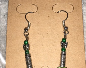 Silver and green glass earrings