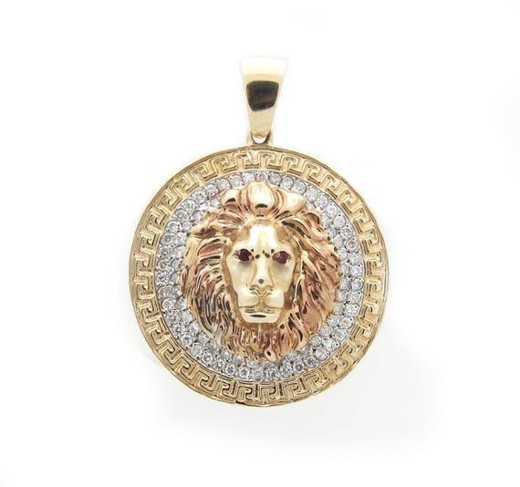 Versace medusa lion head diamond ruby 14k gold pendant aloadofball Images