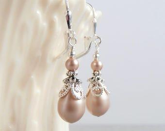 Blush Pearl Drop Earrings, Bridesmaid Pearl Earrings, Matching Bridesmaid Sets, Swarovski Pearl Dangles, Blush Wedding Jewelry