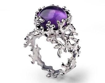 CORAL 14k Gold Amethyst Ring, Purple Amethyst Engagement Ring, Unique Gold Ring, White Gold Amethyst Ring, Organic Gold Ring