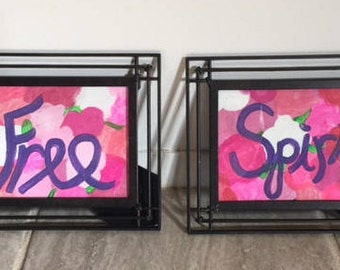 "Pair of Framed ""Free Spirit"" Floral Home Decor"