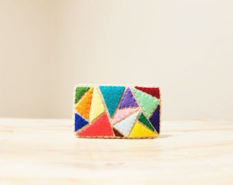 Patchwork Brooch. Modern Style. Hand Stitched Geometric Jewellery. Colour Block Jewelry. Felt Sewing. Rectangle Brooch. Rainbow Colors.