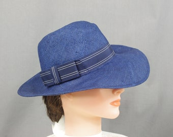 Navy Blue Fedora, Blue Straw Hat, Blue Summer Hat, Church Hat, Tea Party Hat, Panama Hat, Womens Fedora Hat