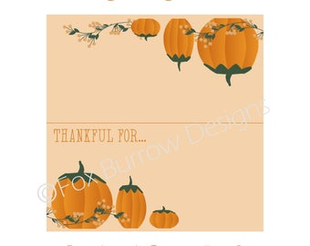 Pumpkins Thanksgiving 2017 Printable Place Cards (Instant Download)
