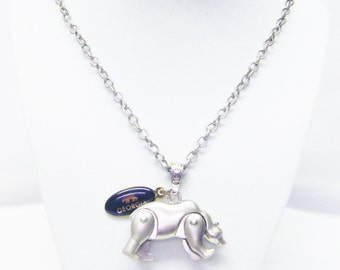 Brushed Silver Plated Bear w/Moving Legs Pendant Necklace