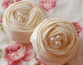 2 Handmade Fabric Rolled Roses With Pearls (2.5 inches) In Lt Yellow MY- 72-01 Ready To Ship
