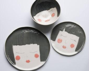 Fun ceramic dishes, porcelain plates, face plates, dinnerware set, breakfast set, tableware setting, quirky ceramic dishes, karoart ceramics
