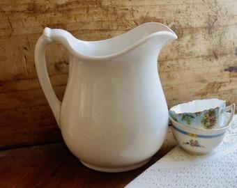 Antique Ironstone Pitcher, White Iron Stone China, Serving Jug, Tableware, Water, Juice, or Milk, Cottage Kitchen Farmhouse Decor