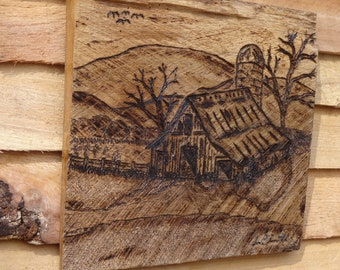 Wood Carved Barn Wall Hanging on Salvaged Chestnut Barnwood