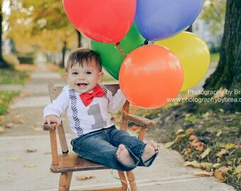 Boys First Birthday Outfit Bow tie Suspenders 1st Birthday