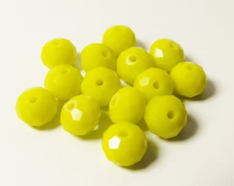 D-00855 -  20 Faceted Glass Rondelle beads 6x8mm