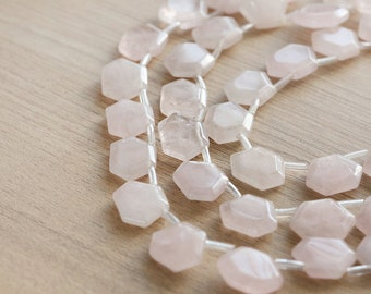 5 pcs of Geometric hexagon Natural Rose Quartz Gemstone Beads