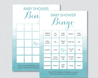 Blue Baby Shower Bingo Cards - Prefilled Bingo Cards AND Blank Cards - Digital Instant Download - Blue Watercolor Baby Shower Game - 0014-B