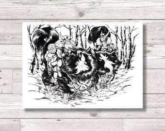 Norwegian Flufferpuss - Norwegian Forrest Cat Large Viking Ink Art Print