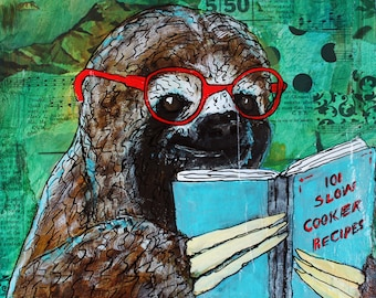 """PRINTS """"Slow Reader"""" - Large 10 x 10 image on 11 x 14 Sloth Archival Print Reading Cookbook Mixed Media"""