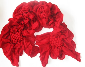 Red Fashion Scarf - Tufted and Shirred- Oblong Shawl
