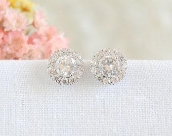 Round Halo Stud Earrings, Crystal Bridal Earrings, Wedding Earrings, Simple Solitaire Earrings, Modern Vintage Bridal Wedding Jewelry, GWEN