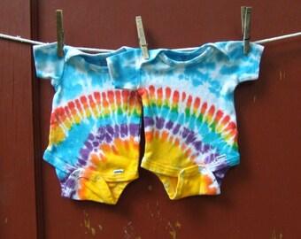 Tie Dye Baby Onesies - Twin Set of 2 - Rainbow Sunshine - newborn, 6m, 12m, 18m, 24m - Made to Order