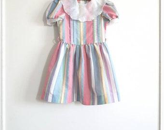 Vintage Pastel Striped Girl's Dress