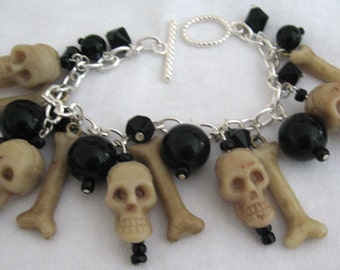 Skulls and Bones Charm Bracelet Gothic Bracelet Day Of The Dead Skeleton Haunted Graveyards