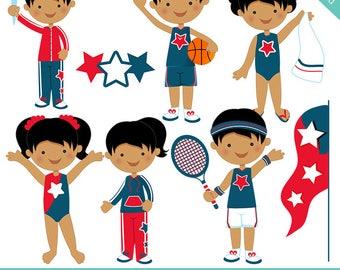All Star Team V2 Cute Digital Clipart for Card Design, Scrapbooking, and Web Design