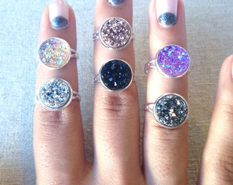 12 mm Druzy Ring - Choose Your Color - Shiny Silver Minimalist Setting - Adjustable Band - Unique Gift Ideas - Modern Boho Trend Jewelry