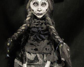 ooak art doll, grey