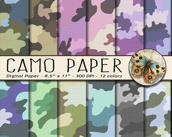Camouflage Digital Papers, 8.5 x 11 Digital Paper, Letter Size, Camo Digital Paper, Military Fabric Digital Paper
