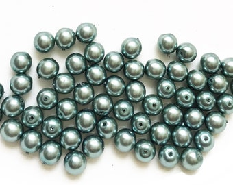 silvery teal blue shiny salvaged faux pearl 6mm beads--matching lot of 55