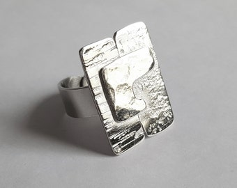 puzzle ring hammered silver