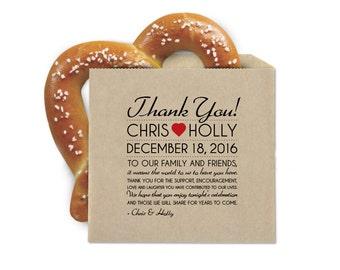 Boda Favor Cookie bolsas - bolsas Favor de Pretzel - nota de agradecimiento - doble apertura bolsas Favor de Kraft resistente a la grasa