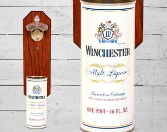 Wall Mount Beer Bottle Opener with Winchester Vintage Colorado Beer Can Cap Catcher 16oz - Stocking Stuffer Groomsmen Gift For Guy