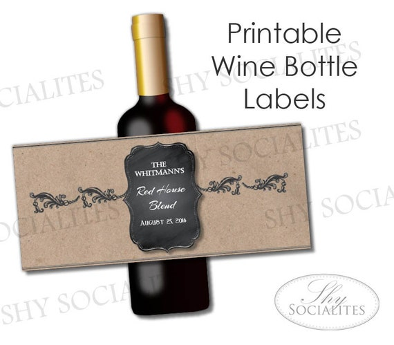 Brown Paper Kraft Printable Wine Label Hostess Gift - Custom wine bottle label template