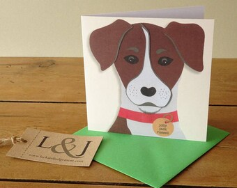 Dog card, jack russell terrier card for dog lover, cute dog card for pet owner