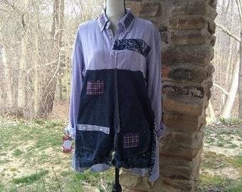 Upcycled Alternative Lavendar and Denim Long Boho Tunic Size XL bandana refashioned altered upcycled womens clothing long sleeve shabby