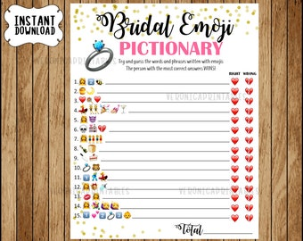 Bridal Shower Game Pictionary, EMOJI Pictionary, Coral and Gold, Instant Printable Digital Download, diy Bridal Shower Printables