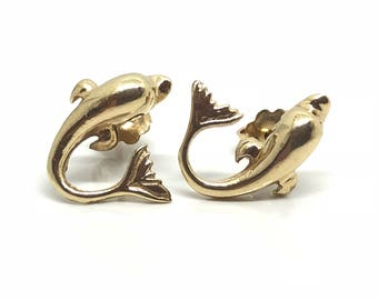 Vintage 14ct Gold Dolphin Earrings | 14ct Gold Studs | Circa 1980 Earrings | Stud 14ct Gold | 14ct Drops Earrings