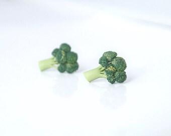 Small broccoli - handmade lightweight earrings