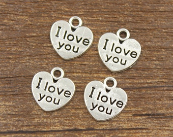 50pcs I Love You Heart Charms Antique Silver Tone 11x11mm - SH5