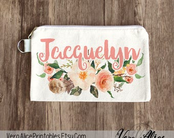 Floral Makeup Bag, Bridal Party Favor, Custom Cosmetic Bag, Bachelorette Makeup Pouch, Wedding Gift, Personalized Floral Pouch, Gift for Her