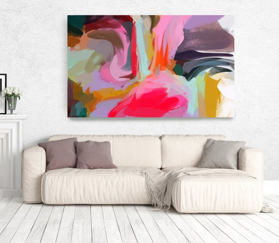 """The Color Movement 10, Abstract Painting Modern Wall Art Painting Canvas Art Print Art Modern Pink Red Blue Green up to 80"""" by Irena Orlov"""