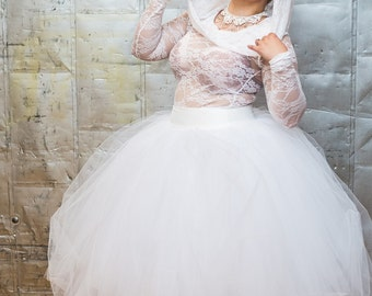 """Simple Wedding Dress - Lace Tulle Tea Length Boho Wedding Gown - Sheer Lingerie Unique Wedding Dress """"Simply Lovely Gown"""" - Custom to Order"""